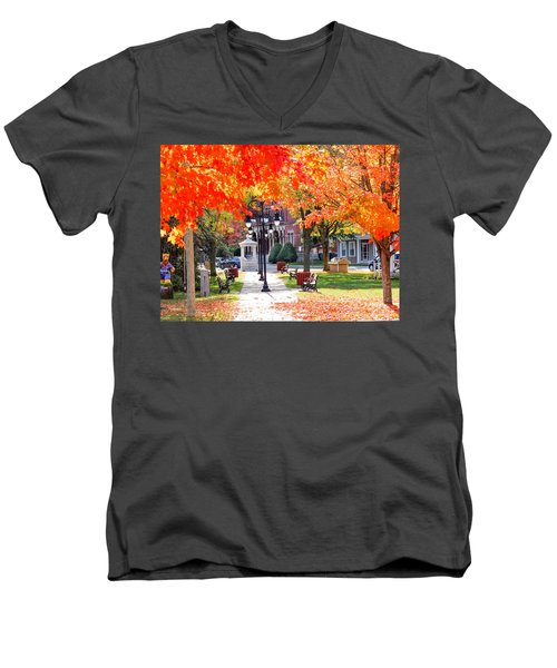 Main Street In The Fall Men's V-Neck T-Shirt