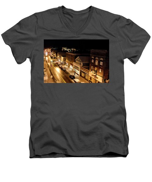 Men's V-Neck T-Shirt featuring the photograph Main Street - Lake Placid New York by Brendan Reals