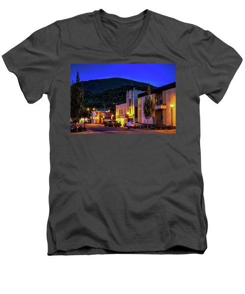 Main Street Lights Men's V-Neck T-Shirt by Dale R Carlson