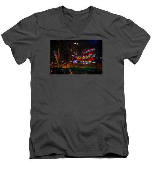 Main Street Station At Night Men's V-Neck T-Shirt