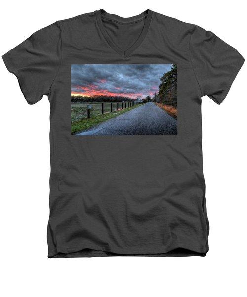 Main Sunset Men's V-Neck T-Shirt by John Loreaux