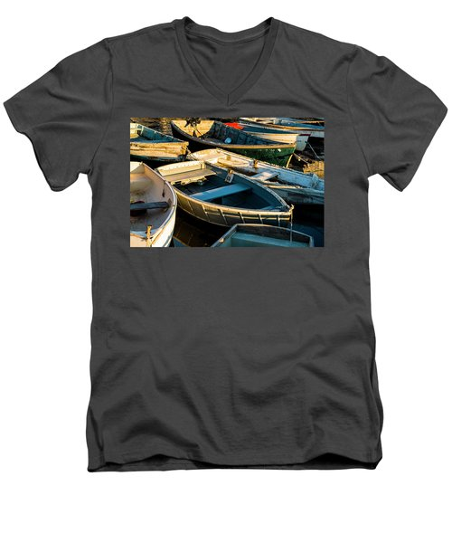 Men's V-Neck T-Shirt featuring the photograph Maine Boats At Sunset by Ranjay Mitra
