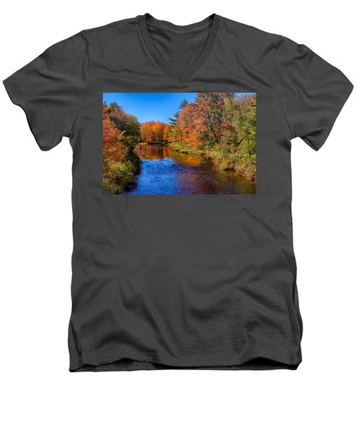 Maine Brook In Afternoon With Fall Color Reflection Men's V-Neck T-Shirt
