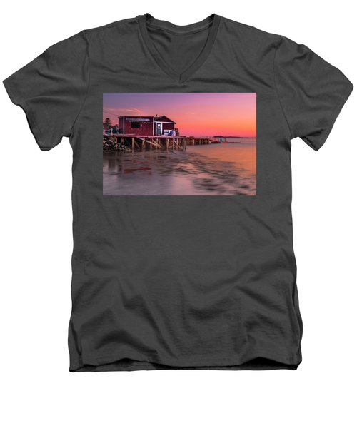 Men's V-Neck T-Shirt featuring the photograph Maine Coastal Sunset At Dicks Lobsters - Crabs Shack by Ranjay Mitra