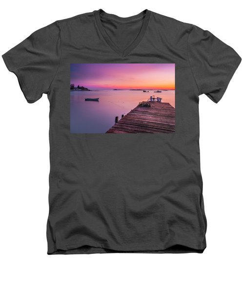 Men's V-Neck T-Shirt featuring the photograph Maine Cooks Corner Lobster Shack At Sunset by Ranjay Mitra