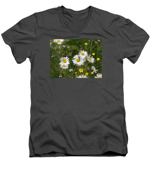 Maine Flowers Men's V-Neck T-Shirt by Helen Haw
