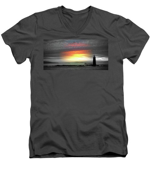 Maine Lighthouse Men's V-Neck T-Shirt