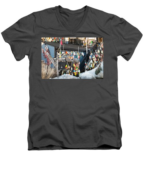 Men's V-Neck T-Shirt featuring the photograph Maine Lobster Shack In Winter by Ranjay Mitra