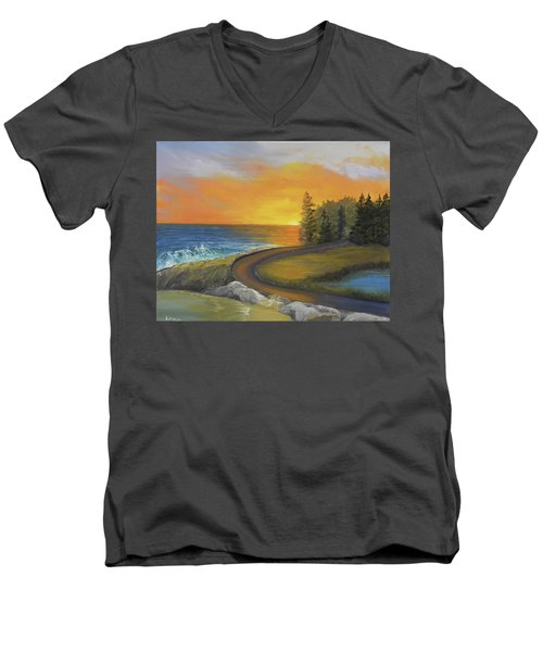 Maine Ocean Sunrise Men's V-Neck T-Shirt
