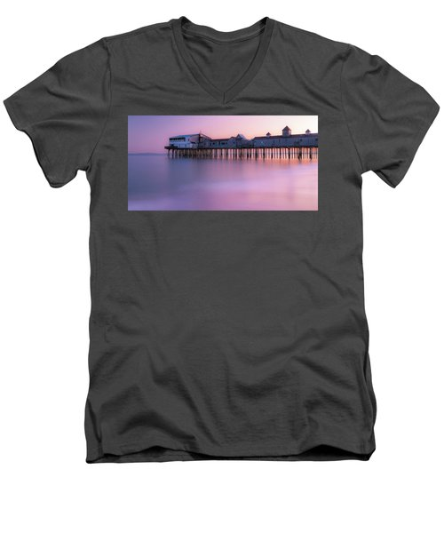Maine Oob Pier At Sunset Panorama Men's V-Neck T-Shirt by Ranjay Mitra