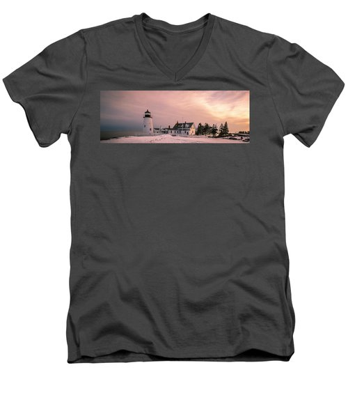 Maine Pemaquid Lighthouse After Winter Snow Storm Men's V-Neck T-Shirt