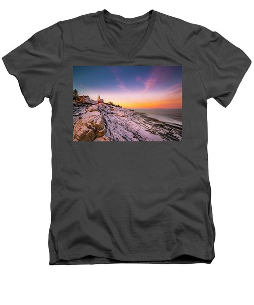 Men's V-Neck T-Shirt featuring the photograph Maine Pemaquid Lighthouse In Winter Snow by Ranjay Mitra