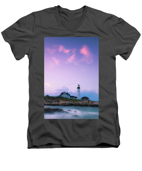 Maine Portland Headlight Lighthouse In Blue Hour Men's V-Neck T-Shirt