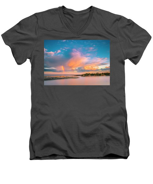 Maine Sunset - Rainbow Over Lands End Coast Men's V-Neck T-Shirt