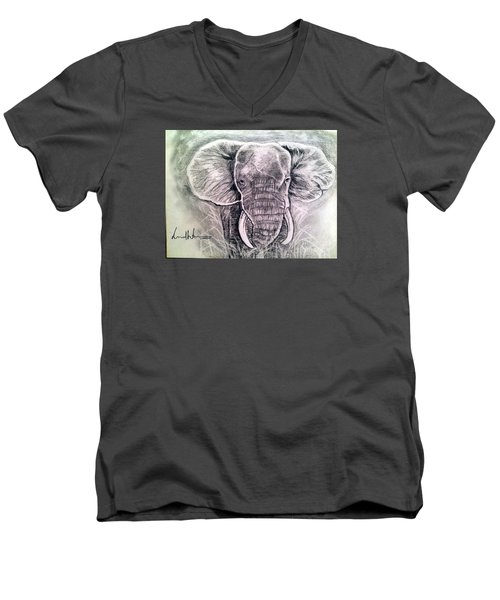 Men's V-Neck T-Shirt featuring the painting Majestic Elephant by Brindha Naveen
