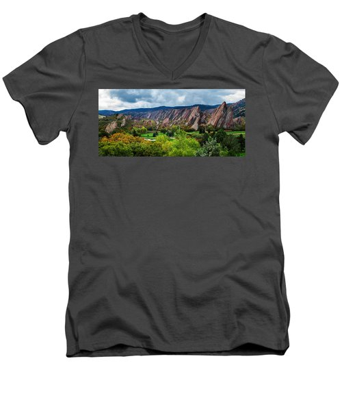 Majestic Foothills Men's V-Neck T-Shirt by Kristal Kraft