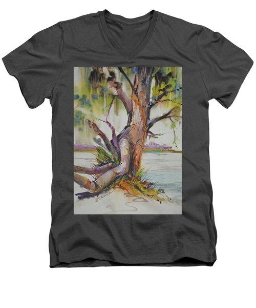 Majestic Live Oak  Men's V-Neck T-Shirt by P Anthony Visco