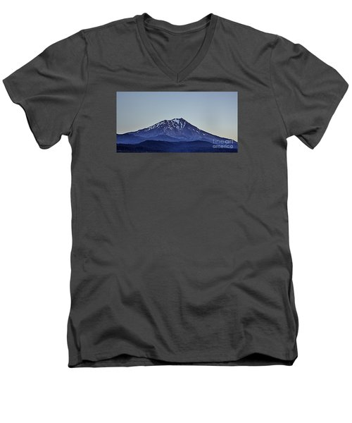 Men's V-Neck T-Shirt featuring the photograph Majestic Mt Shasta by Nancy Marie Ricketts