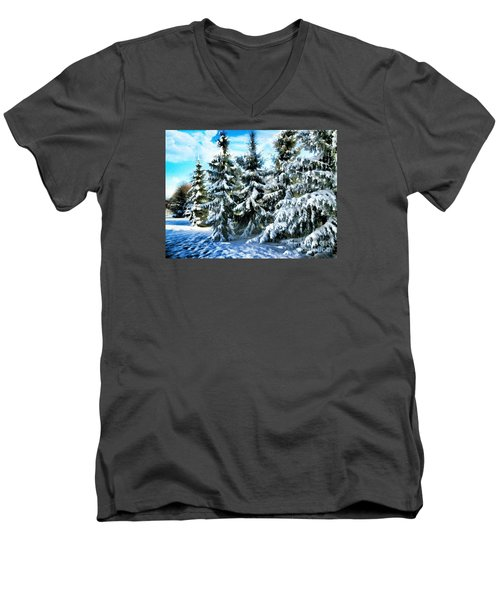 Majestic Winter In New England  Men's V-Neck T-Shirt