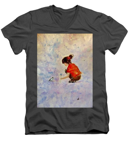 Men's V-Neck T-Shirt featuring the painting Make A Wish 20 by Cristina Mihailescu