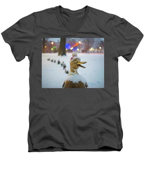 Make Way For Ducklings Winter Hats Boston Public Garden Christmas Men's V-Neck T-Shirt