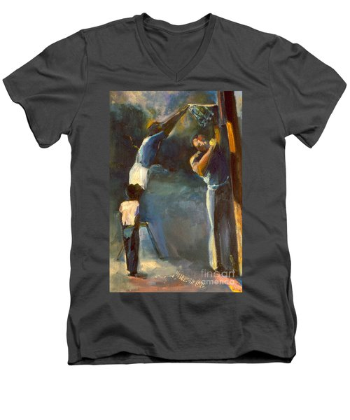 Makin Basketball Men's V-Neck T-Shirt by Daun Soden-Greene
