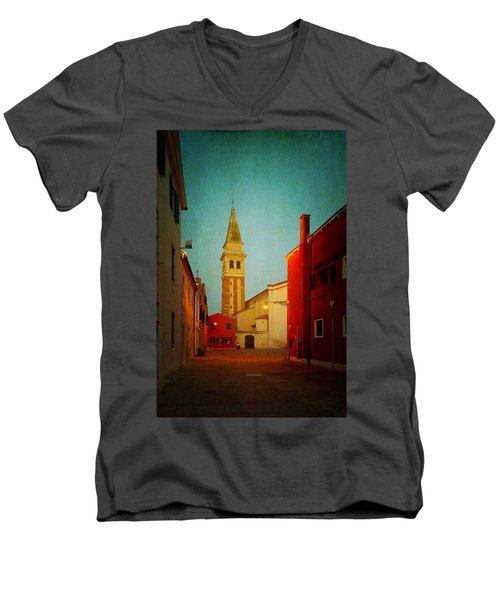 Men's V-Neck T-Shirt featuring the photograph Malamocco Dusk No1 by Anne Kotan