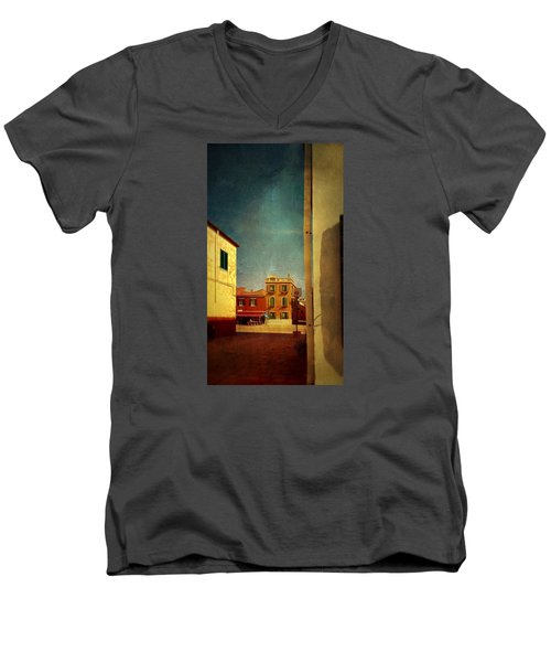 Men's V-Neck T-Shirt featuring the photograph Malamocco Glimpse No1 by Anne Kotan