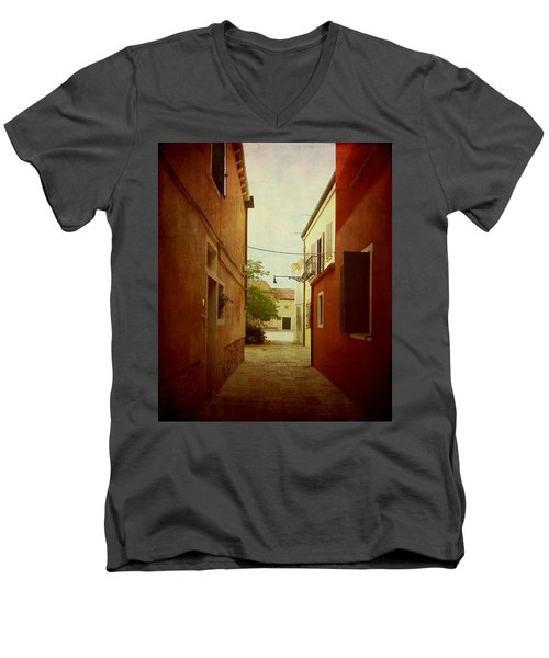 Men's V-Neck T-Shirt featuring the photograph Malamocco Perspective No2 by Anne Kotan