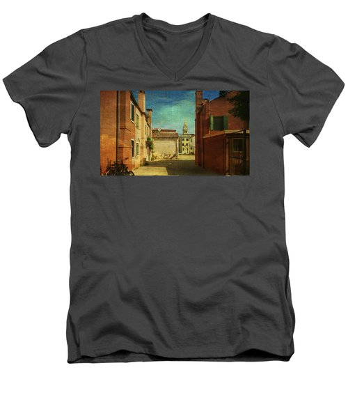 Men's V-Neck T-Shirt featuring the photograph Malamocco Perspective No3 by Anne Kotan