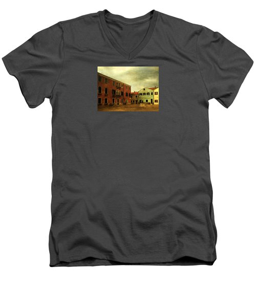 Men's V-Neck T-Shirt featuring the photograph Malamocco Piazza No1 by Anne Kotan