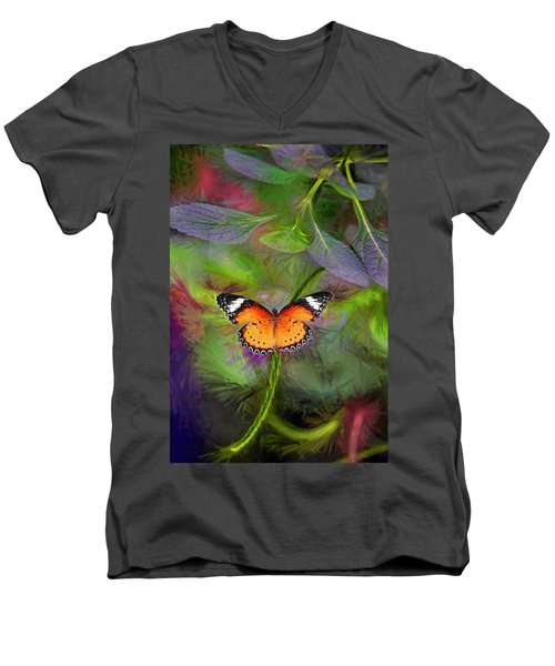 Men's V-Neck T-Shirt featuring the digital art Malay Lacewing  What A Great Place by James Steele