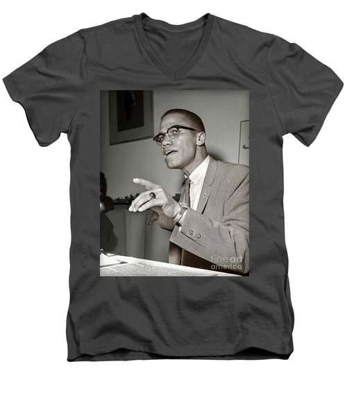 Men's V-Neck T-Shirt featuring the photograph Malcolm X  by Martin Konopacki Restoration