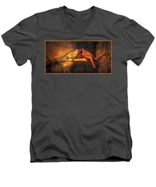 Male And Female Cardinal Men's V-Neck T-Shirt by Diane Giurco