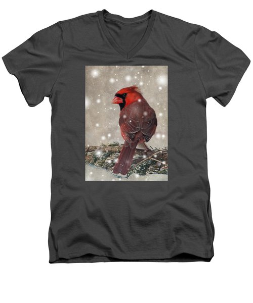Male Cardinal In Snow #1 Men's V-Neck T-Shirt by Patti Deters