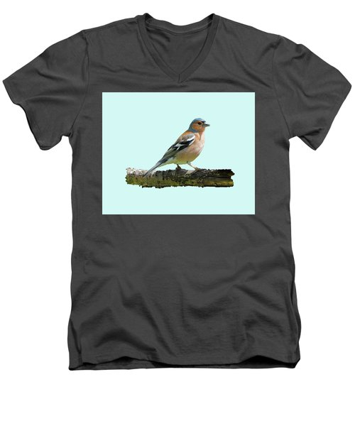 Male Chaffinch, Blue Background Men's V-Neck T-Shirt by Paul Gulliver