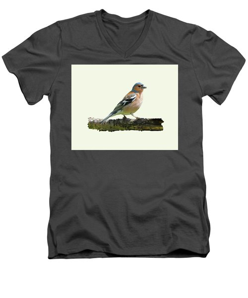 Male Chaffinch, Cream Background Men's V-Neck T-Shirt by Paul Gulliver