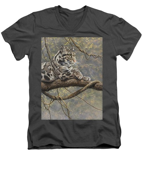 Male Clouded Leopard Men's V-Neck T-Shirt
