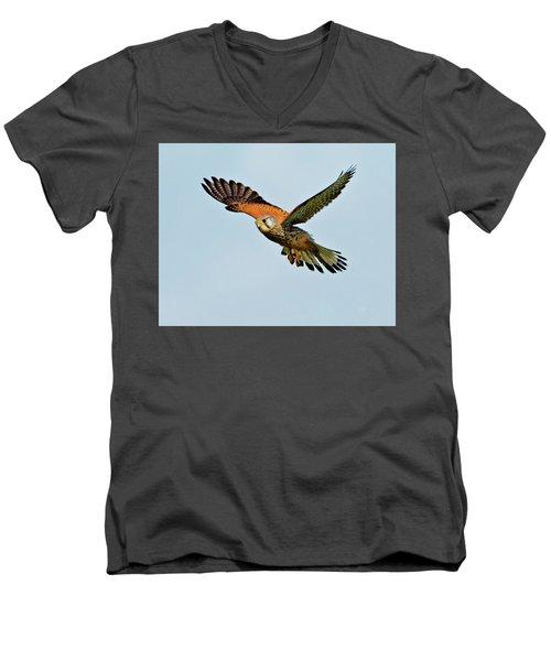 Male Kestrel In The Wind. Men's V-Neck T-Shirt