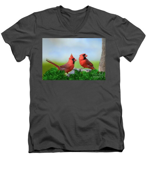 Male Northern Cardinals In Spring Men's V-Neck T-Shirt by Bonnie Barry