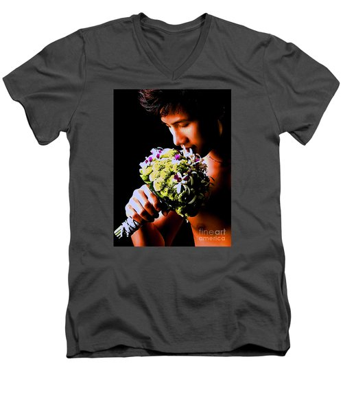 Male  Nude -  No.  190 Men's V-Neck T-Shirt