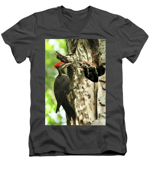 Male Pileated Woodpecker At Nest Men's V-Neck T-Shirt by Mircea Costina Photography