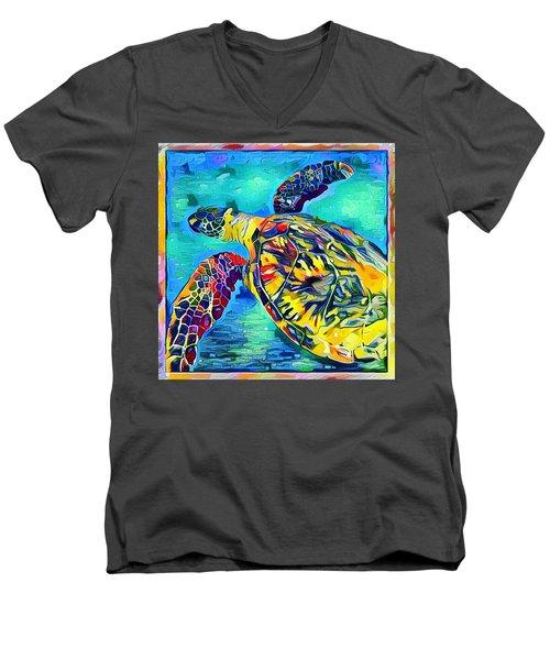 Men's V-Neck T-Shirt featuring the digital art Malia The Turtle by Erika Swartzkopf