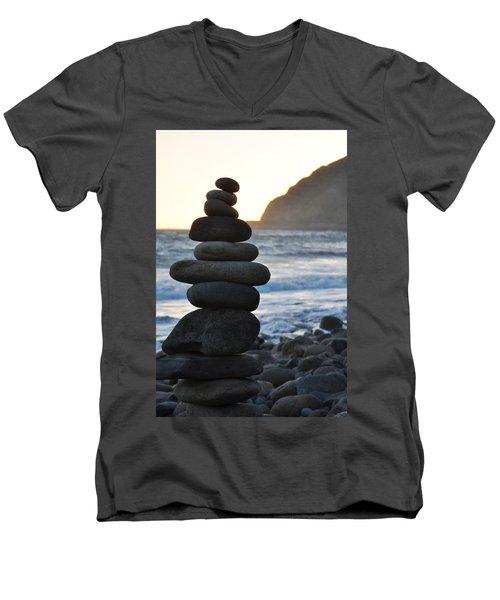 Men's V-Neck T-Shirt featuring the photograph Malibu Balanced Rocks by Kyle Hanson
