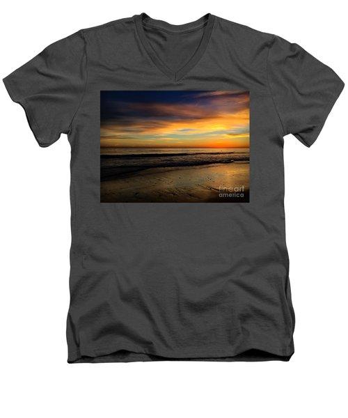 Malibu Beach Sunset Men's V-Neck T-Shirt by Chris Tarpening