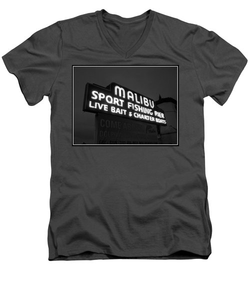 Malibu Pier Sign In Bw Men's V-Neck T-Shirt