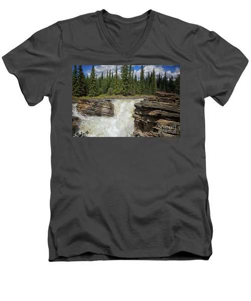 Men's V-Neck T-Shirt featuring the photograph Maligne Canyon by Patricia Hofmeester