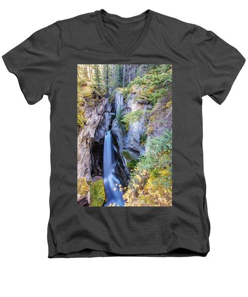 Maligne Canyon Waterfall Men's V-Neck T-Shirt