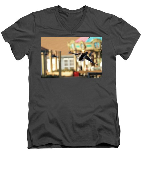 Mallard Duck And Carousel Men's V-Neck T-Shirt by Geraldine Scull