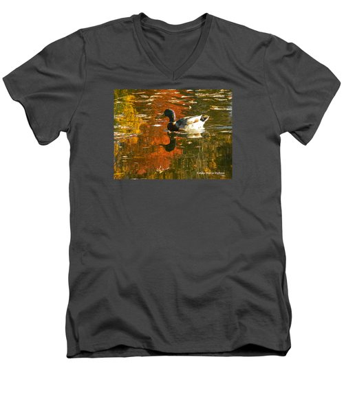 Men's V-Neck T-Shirt featuring the photograph Mallard Duck In The Fall by Emmy Marie Vickers